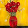 Flowers in a red pot Oil on canvas - 80x120 cm